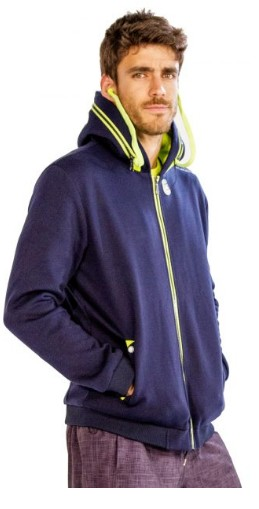 Men's Blue Jacket With Green Drawstrings