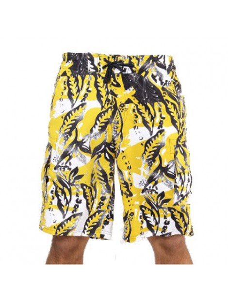 Wholesale Bright Yellow and Black Beach Men's Shorts Manufacturer