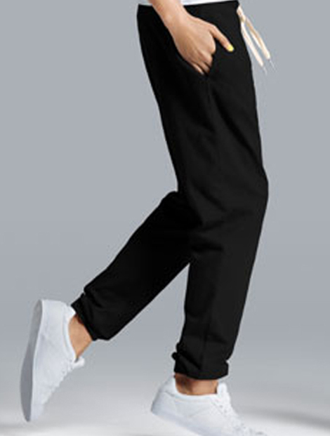 Wholesale Pure Black Casual Lounge Pants Manufacturer