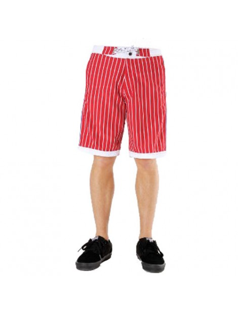 Wholesale Red and White Striped Beach Men's Shorts Manufacturer