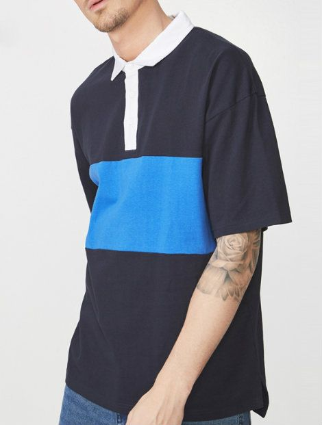 Wholesale Blue and Black Polo T Shirt