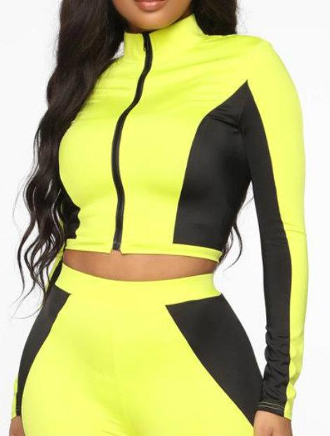 Wholesale Neon Yellow Block Tracksuit Jacket Manufacturer