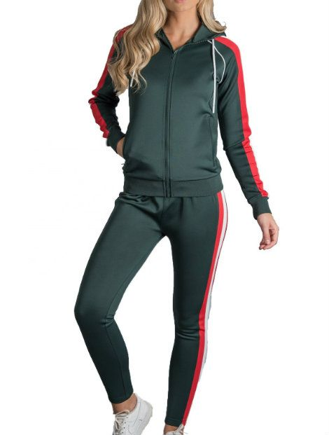 Wholesale Red and Green Custom Fitness Tracksuit