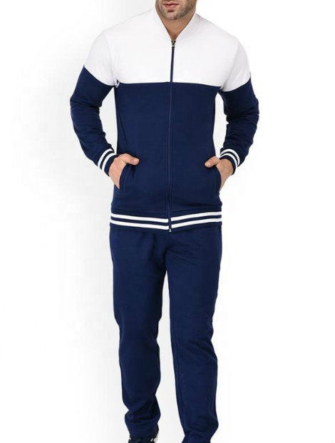 Wholesale White and Navy Microfiber Tracksuit