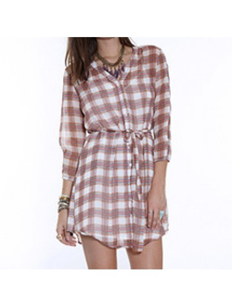 Wholesale Brown and White Shirt Flannel Dress Manufacturer