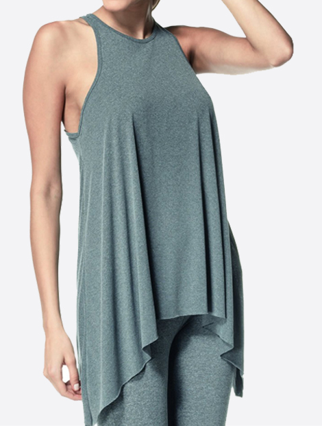 Wholesale Soft Grey Long and Short Seamless Tunic Manufacturer