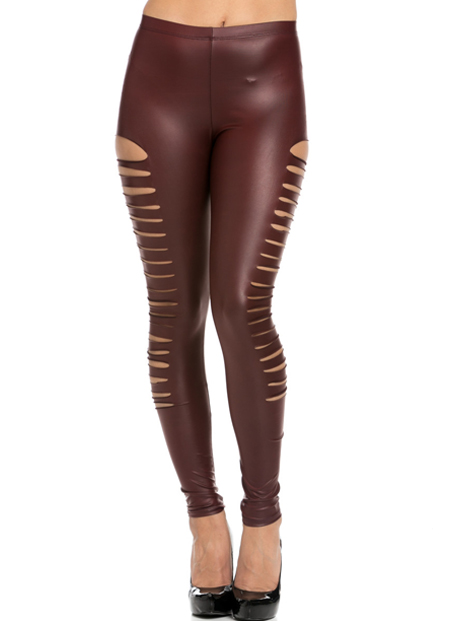 Wholesale Attractive Brown Pu Leather Leggings Manufacturer
