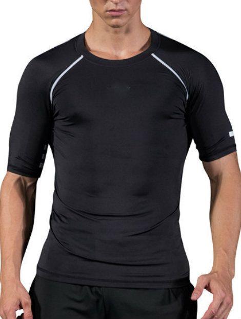 Wholesale Black And Silver Half Sleeve Men's Compression T Shirt Manufacturer