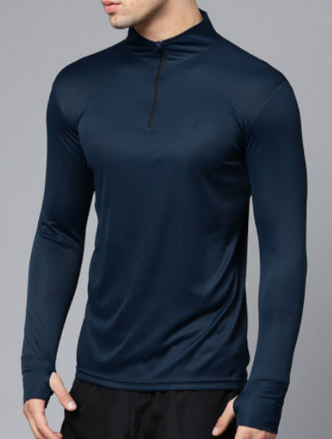 Wholesale Midnight Blue Full Sleeve Men's Compression Tee Manufacturer