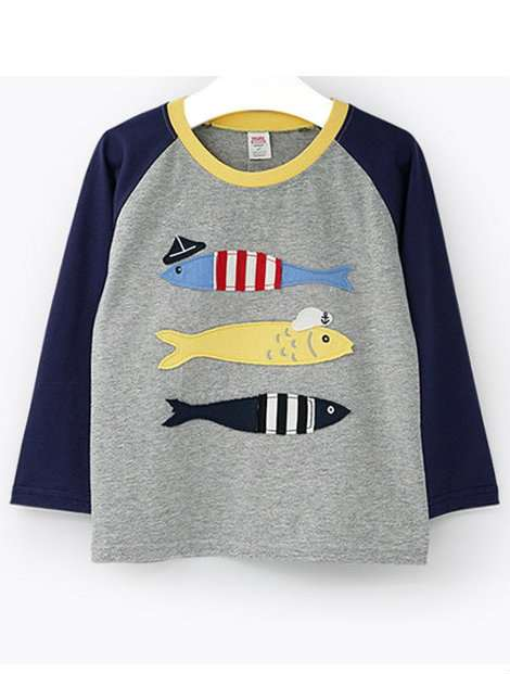 Wholesale Gray and Blue Boy's T-Shirt