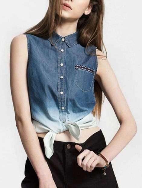 Wholesale Trendy Blue Women's Shirt