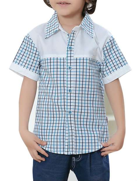 Wholesale Blue and White Kid's Checked Shirt