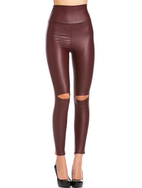Wholesale Brown Pu Leather Leggings Manufacturer