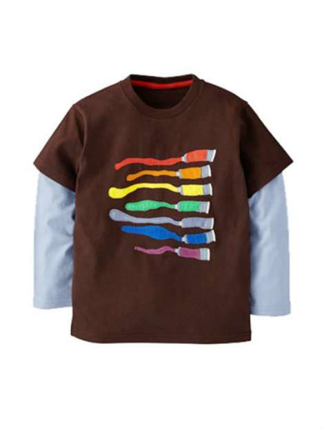 Wholesale Brown and Blue Boy's T-Shirt