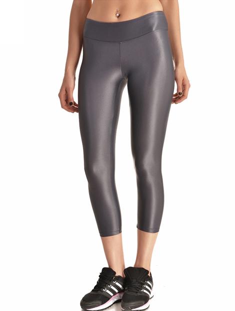 Wholesale Grey Glossy Women's Leggings