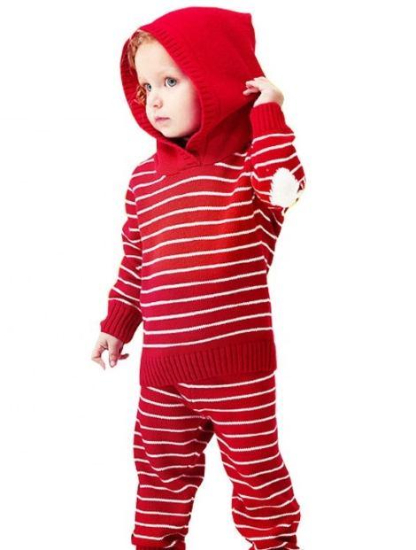Wholesale Funky Red Striped Kid's Hoodie