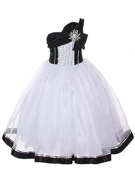 Wholesale Lovely Black and White Girl's Dress