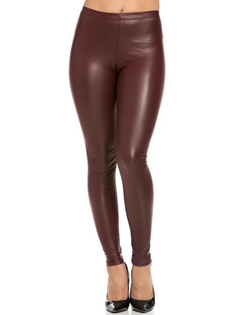 Wholesale Maroon Pu Leather Leggings Manufacturer