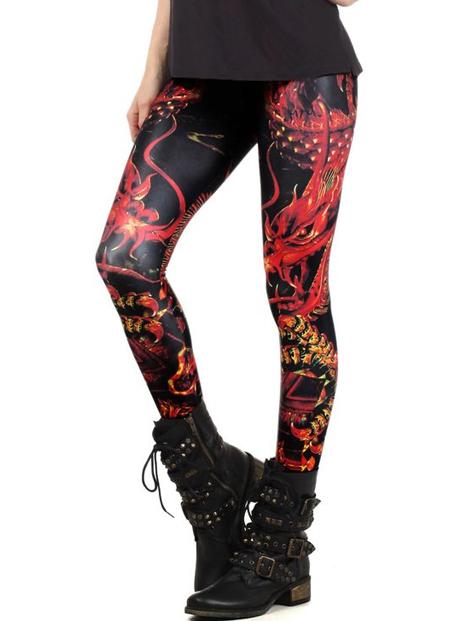 Wholesale Printed Black Faux Leather Leggings Manufacturer