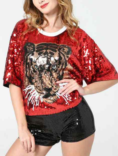Wholesale Captivating Red And Black Dance T-Shirt
