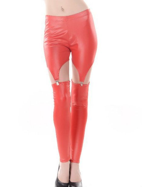 Wholesale Red Pu Leather Leggings Manufacturer
