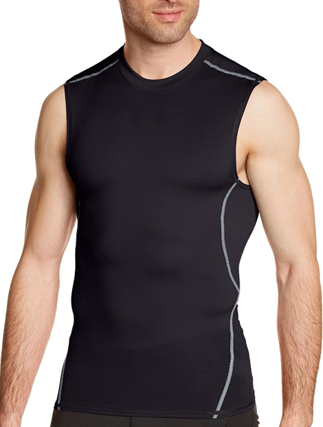 Wholesale Sexy Black Sleeveless Compression Men's Tee Manufacturer