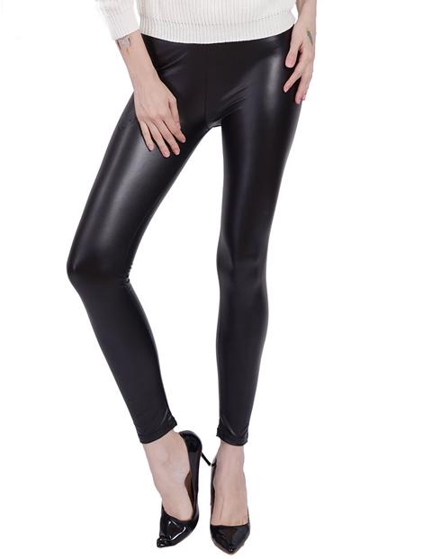 Wholesale Sleek Black Pu Leather Leggings Manufacturer