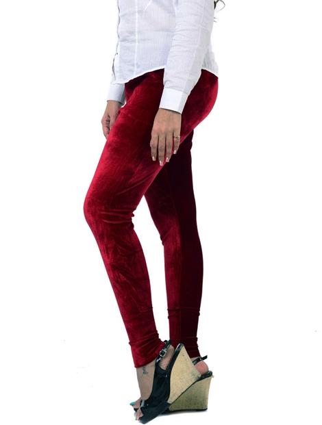 Wholesale Wine Red Velvet Women's Leggings Manufacturer
