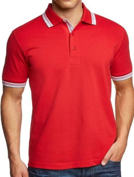 sporty red and white polo tee manufacturers